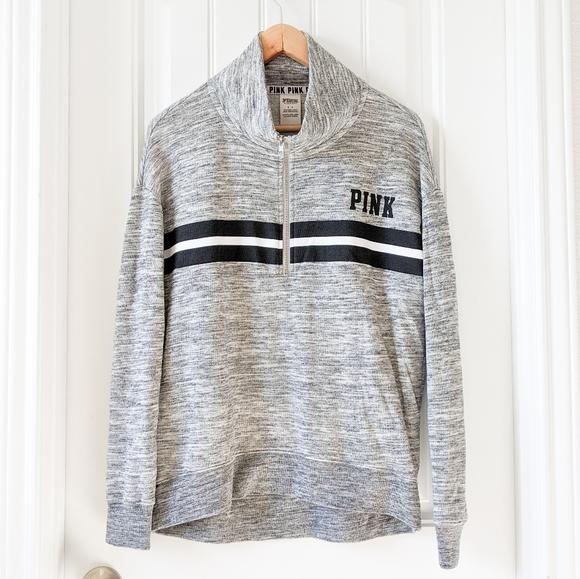VS Pink Varsity 1/4 Zip Pullover Sweatshirt
